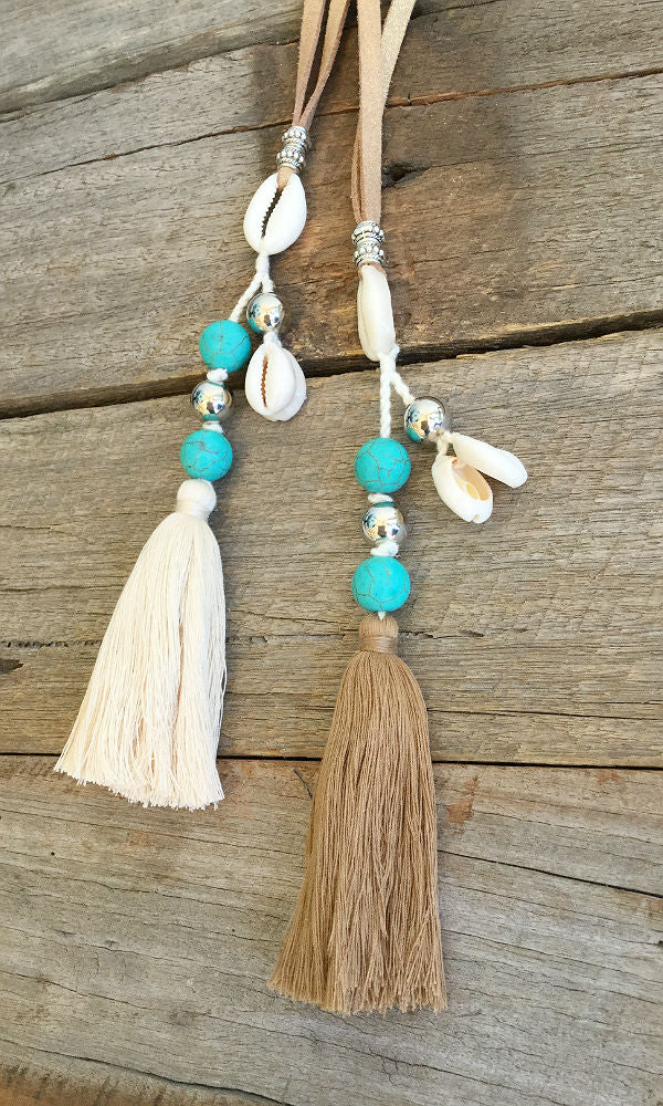 OCEAN- Turquoise & Shell Leather Necklace
