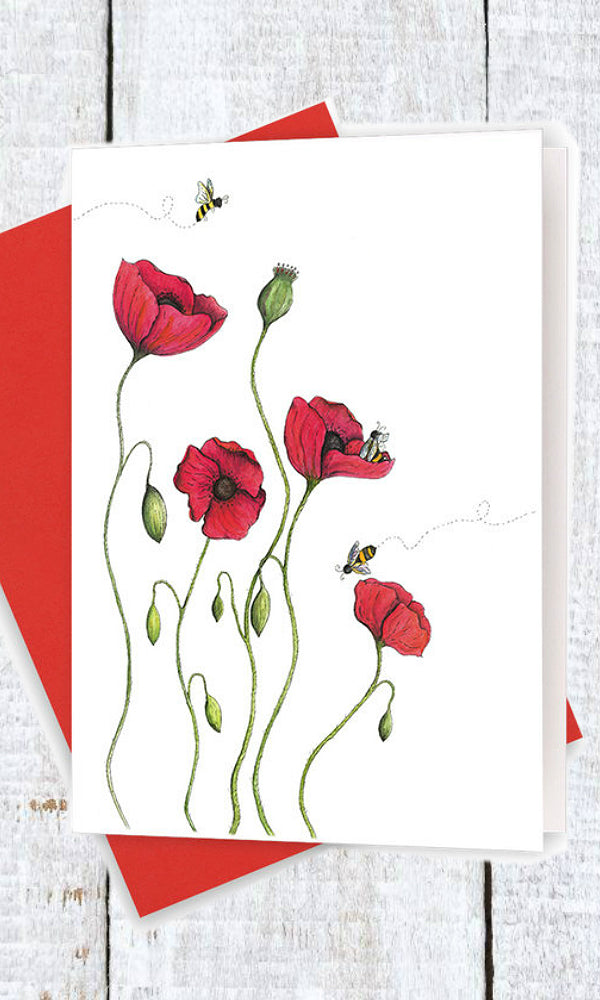 poppies and bees greeting card