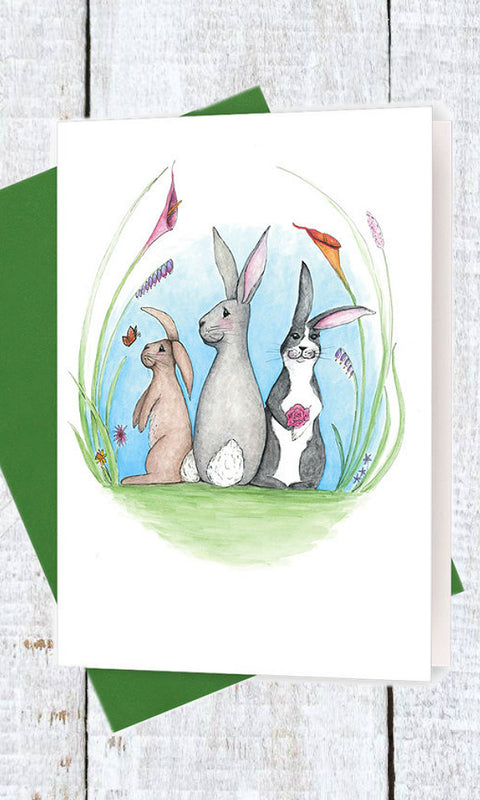 rabbit in the garden greeting card
