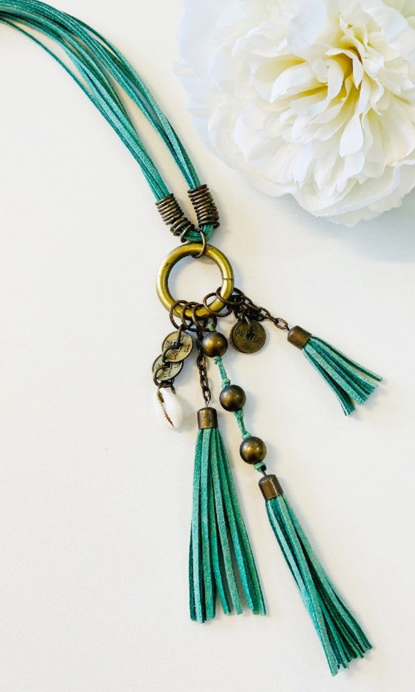 SHELLS- Emerald Tassel Necklace