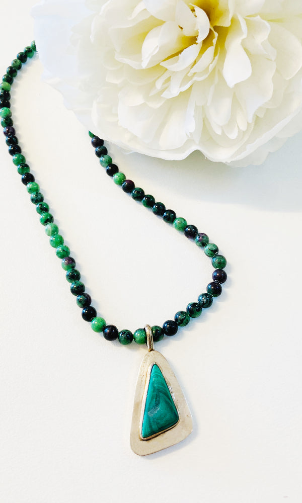 TRIANGLE- Malachite Pendant Necklace