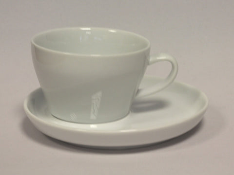 280cc White Porcelain Off Centre Cup and Saucer