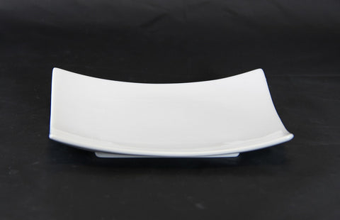 "12"" Square Raised White Porcelain Dinner Plate"