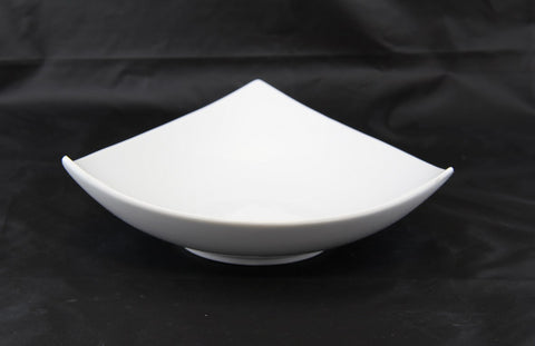 "9"" Raised White Porcelain Triangle Bowl"