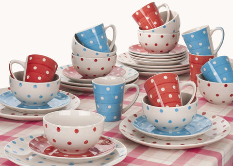 32 Piece Spotty Hand Painted Mix and Match Dinner Set - CLEARANCE - LAST YEARS STOCK