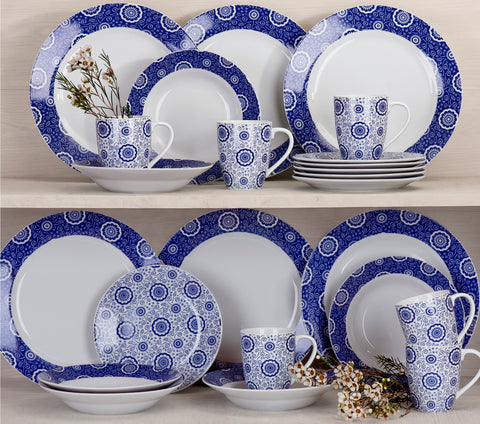 24 Piece Kensington Blue Dinner Set