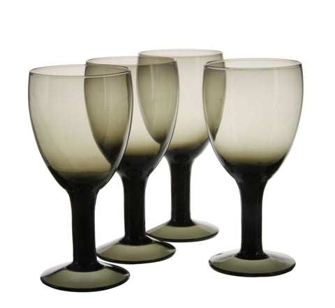 4 Piece Smoky Black Wine Glasses