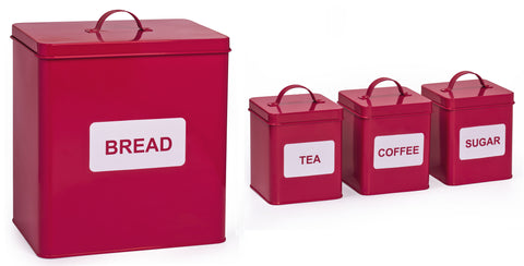 4 Piece Square Storage Tin Set Red