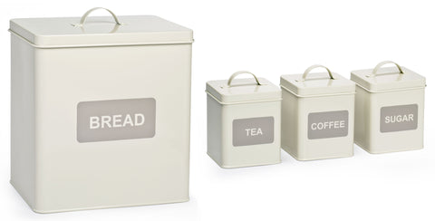 4 Piece Square Storage Tin Set - Cream