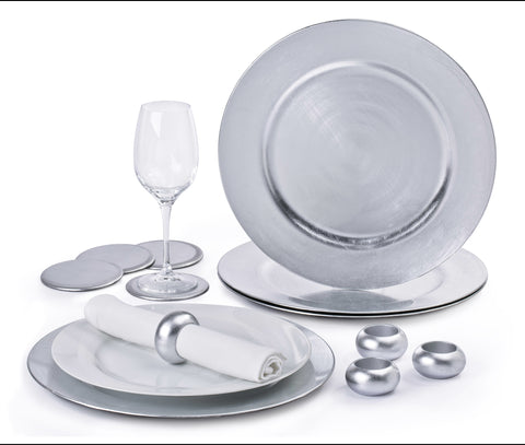 12 Piece Platinum Charger Plate Set