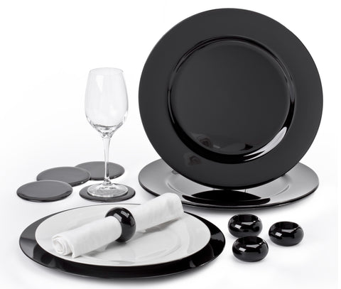 12 Piece Black Charger Plate Set