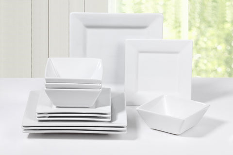 12 Piece White Square Porcelain Dinner Set
