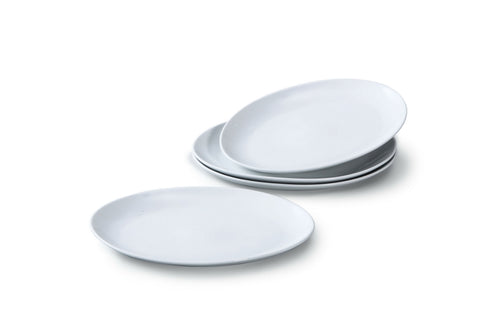 Set of 4  White Porcelain Oval Steak Plates