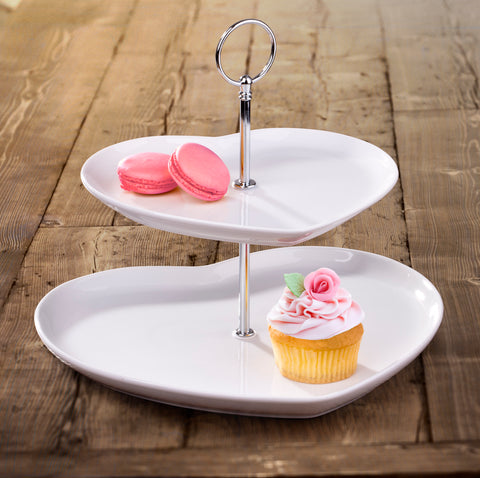 2pc Tier Heart Shape Cake Stand