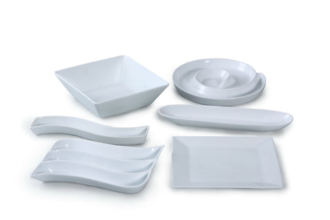 6 Piece White Porcelain Serving Party Set