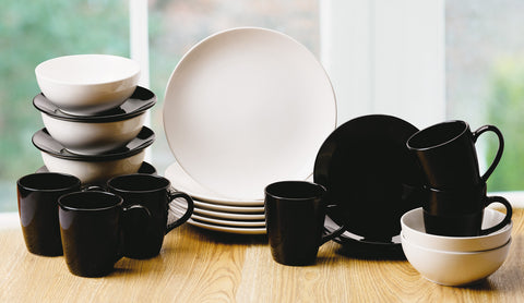 24 Piece Black and White Dinner Set - CLEARANCE - LAST YEARS STOCK