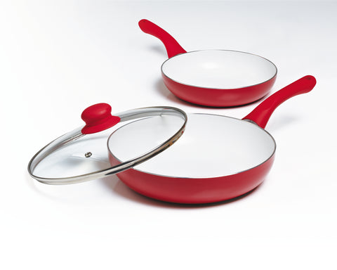 3 Piece Ceramic Non-Stick Frying Pan set with a Lid - Red