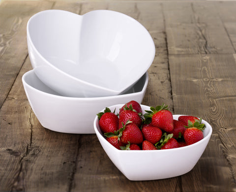 White Porcelain 3 Piece Heart Dishes