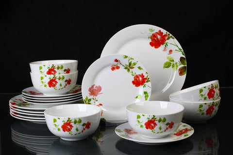 18 Piece Misty Rose Floral Dinner Set