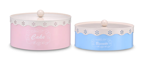 Set of 2 Vintage Lace Pastel Cake & Biscuit Tin