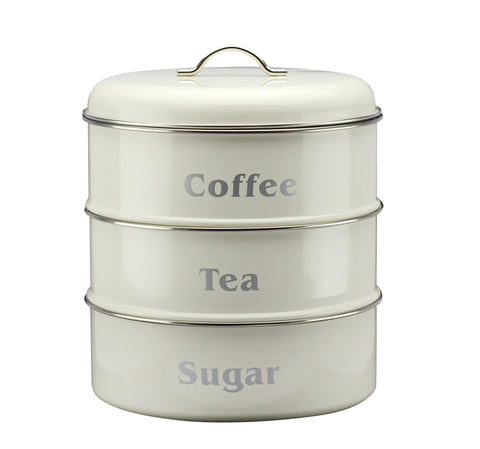 Vintage Cream 3 Tier Storage Canister