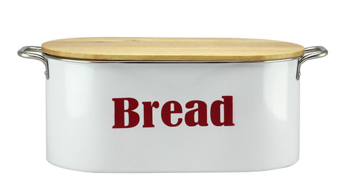 White Bread Bin with Wooden Lid