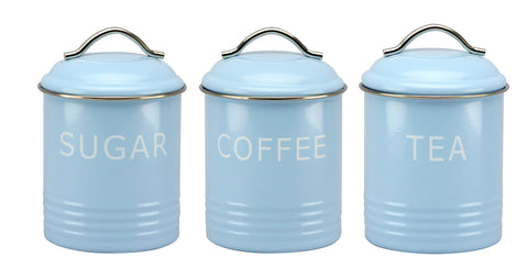 Set of 3 Vintage Blue Storage Tins - SALE - LAST ONE