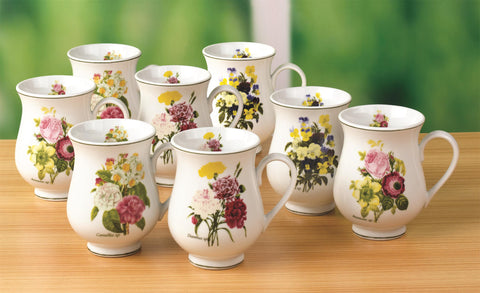 8pc Spring Posy Bellied Mugs