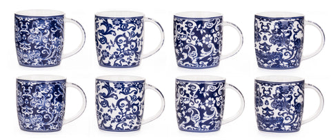 8pc Twilight Blue Mugs