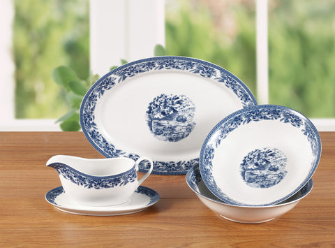 5 Piece Traditional Blue Serving Set