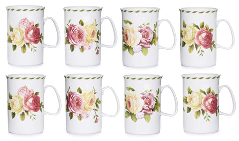 8 Piece Fine China Rose Mug Set