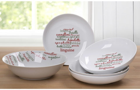 5 Piece Multi- Colour Italian Script Pasta Set