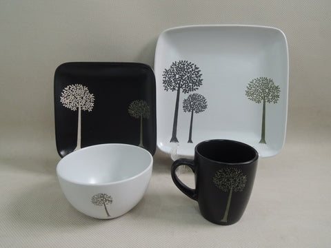 32Pc Black and White Trees Stoneware Dinner Set - CLEARANCE END OF LINE SALE