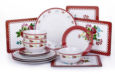 16 Piece Retro Rose Dinner Set