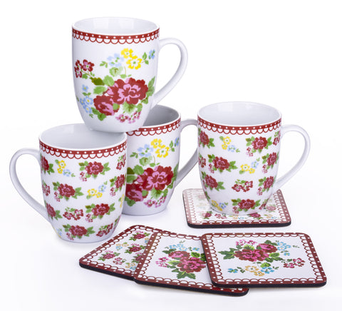 Set of 4 Retro Rose Mugs & 4 Coasters