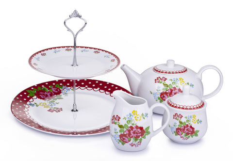 4 Piece Retro Rose Tea Set