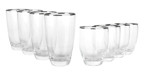 8 Piece Platinum Rim Glasses- 4x Platinum Rim Hiball Glasses + 4 x Platinum Rim Tumbler Glasses