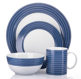 16pc Blue Linear Dinner Set