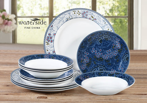 12 Piece Blue Midnight Garden Dinner Set