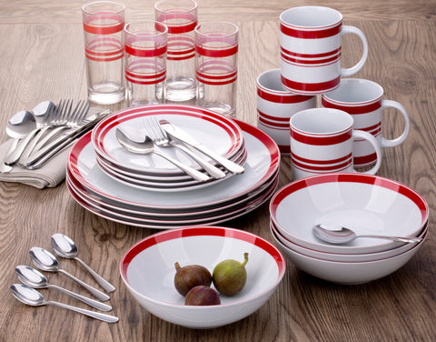 36 Piece Bistro Red & White Stripe Combo Dinner Set