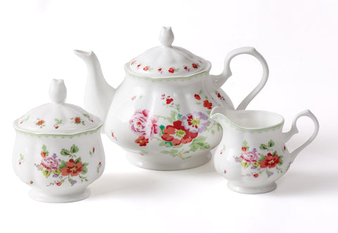 3PC RED ROSE TEAPOT