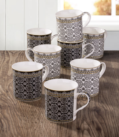 8 Piece Black & White Downton Mug Set