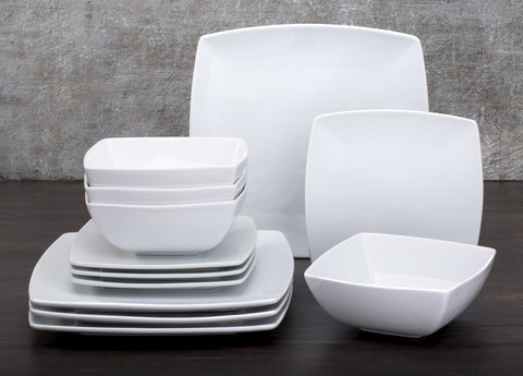 12 Piece Oxford White Square Dinner Set