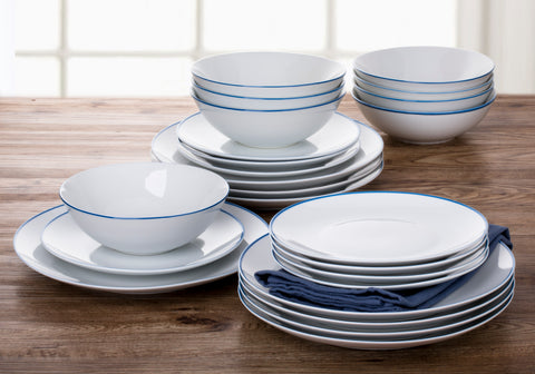 24 PIECE CONTOUR BLUE BAND DINNER SET