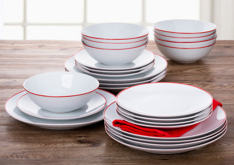 24 Piece Contour Red Band Dinner Set
