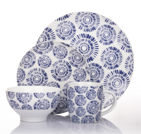 16 Piece Indigo Pad Print Dinner Set