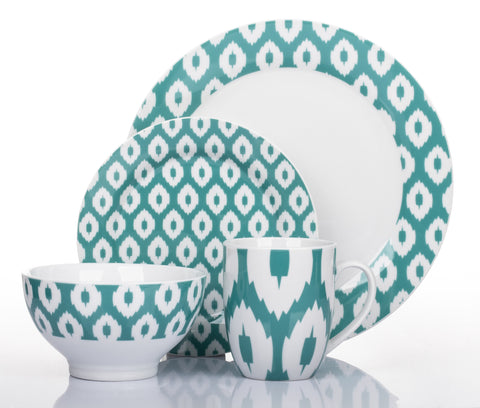 16 Piece Ikat Teal Dinner Set