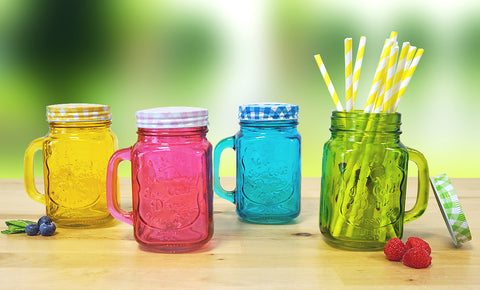 Set of 4 Multi-Colour Mason Jars with Lid