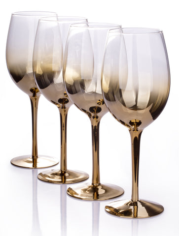 Set of 4 Gold Ombre Wine Glasses