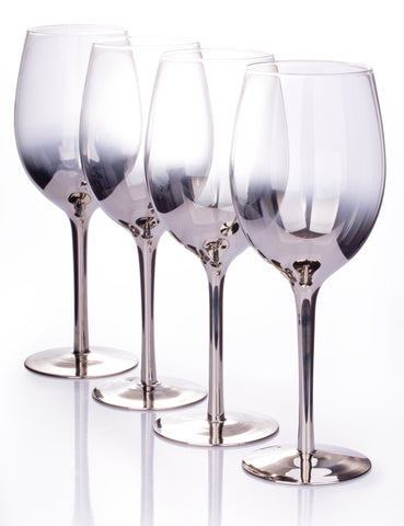Set of 4 Platinum Ombre Wine Glasses